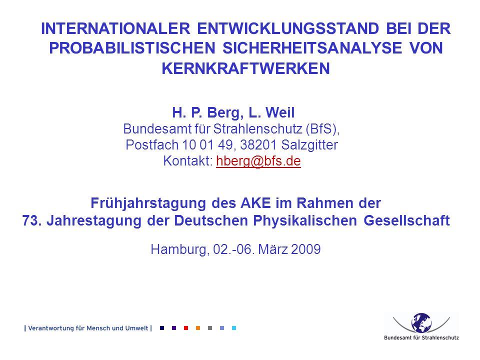 INTERNATIONALER ENTWICKLUNGSSTAND BEI DER PROBABILISTISCHEN SICHERHEITSANALYSE VON KERNKRAFTWERKEN