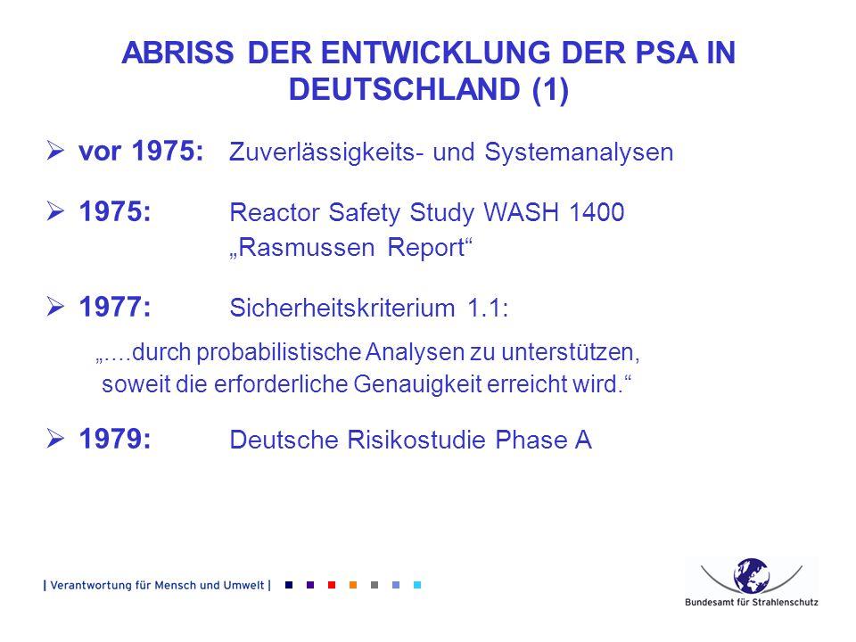 ABRISS DER ENTWICKLUNG DER PSA IN DEUTSCHLAND (1)