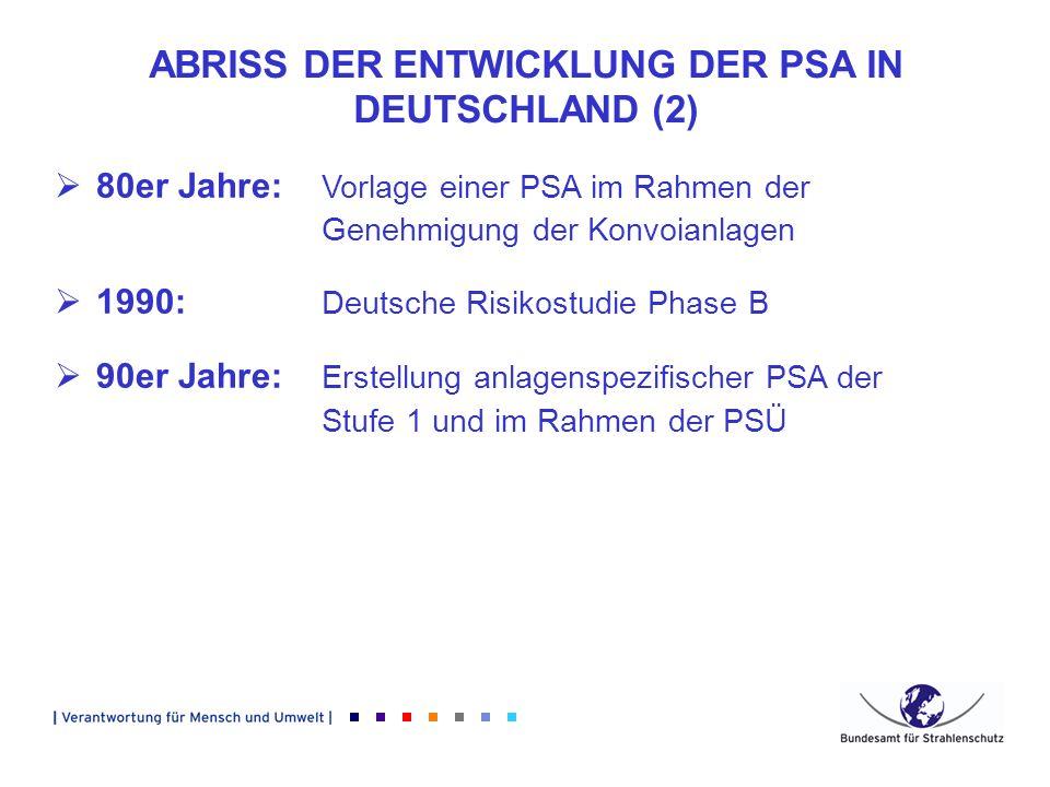 ABRISS DER ENTWICKLUNG DER PSA IN DEUTSCHLAND (2)