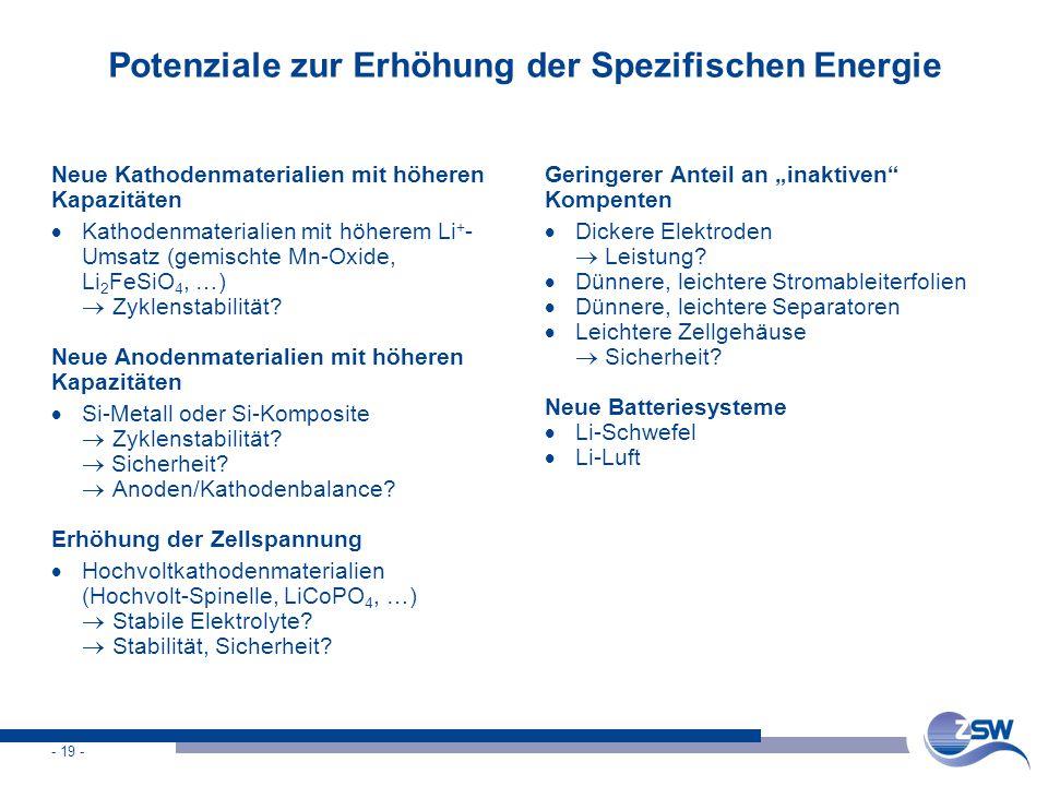 Potenziale zur Erhöhung der Spezifischen Energie