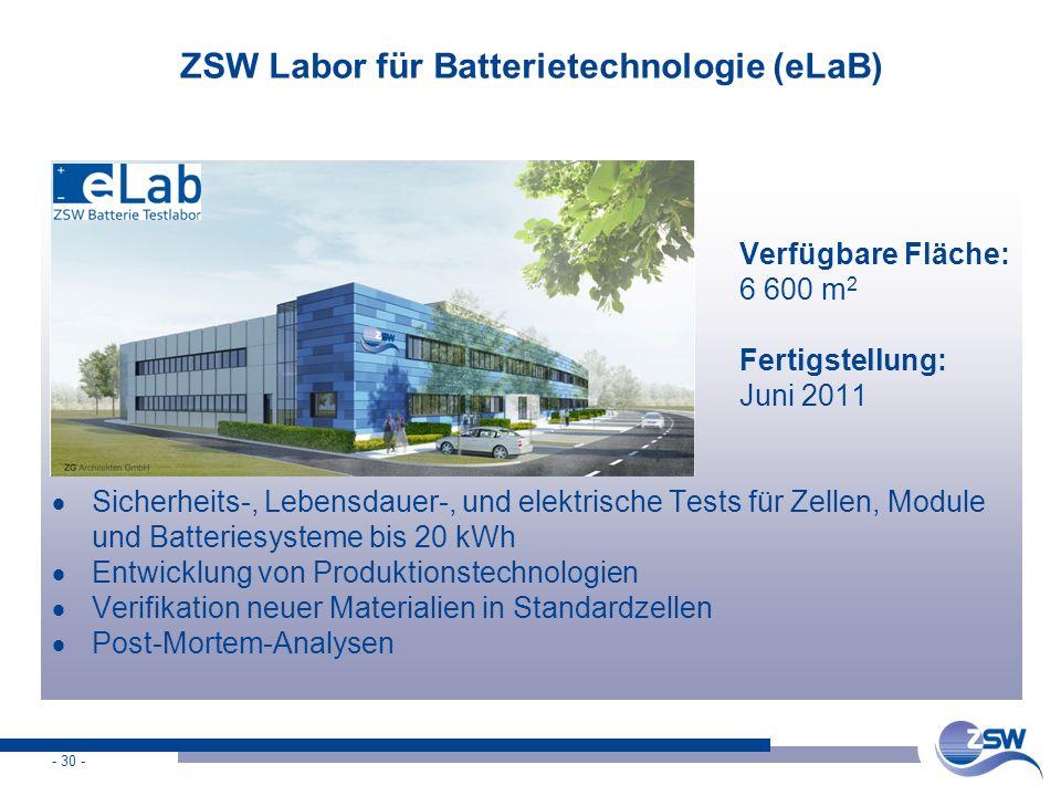 ZSW Labor für Batterietechnologie (eLaB)