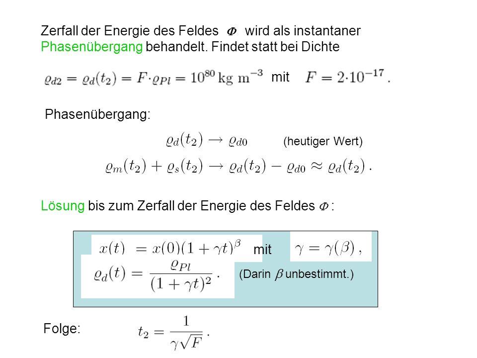 Lösung bis zum Zerfall der Energie des Feldes  :