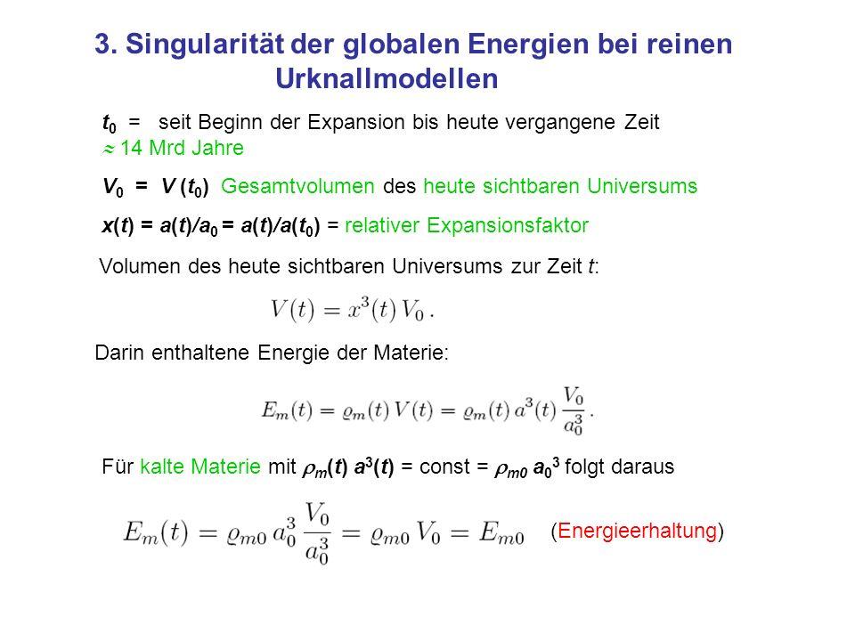 3. Singularität der globalen Energien bei reinen Urknallmodellen