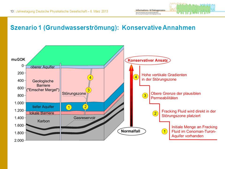 Szenario 1 (Grundwasserströmung): Konservative Annahmen