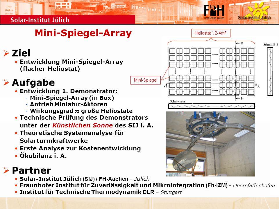 Mini-Spiegel-Array Ziel Aufgabe Partner