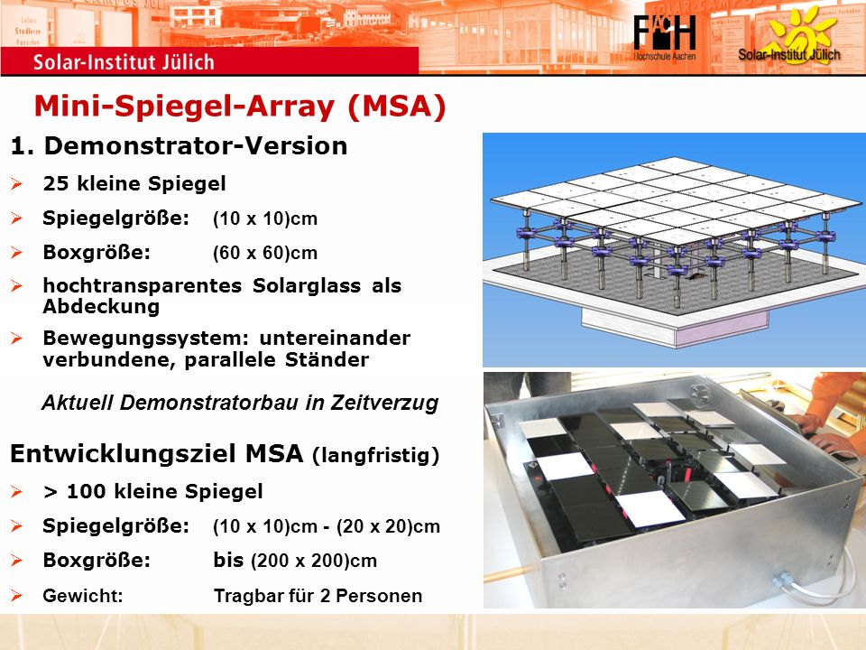 Mini-Spiegel-Array (MSA) Aktuell Demonstratorbau in Zeitverzug