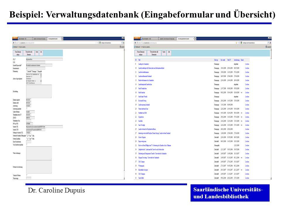 Beispiel: Verwaltungsdatenbank (Eingabeformular und Übersicht)