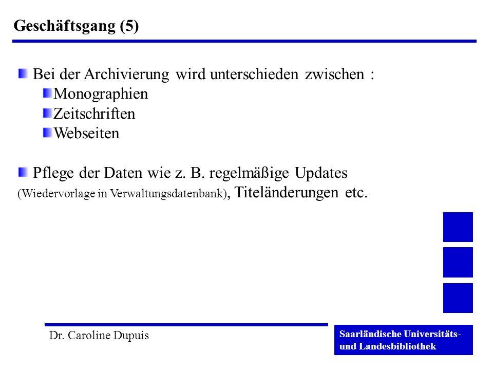 Geschäftsgang (5) Bei der Archivierung wird unterschieden zwischen : Monographien. Zeitschriften.