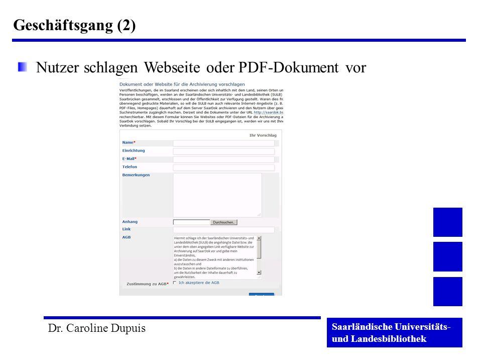 Geschäftsgang (2) Nutzer schlagen Webseite oder PDF-Dokument vor