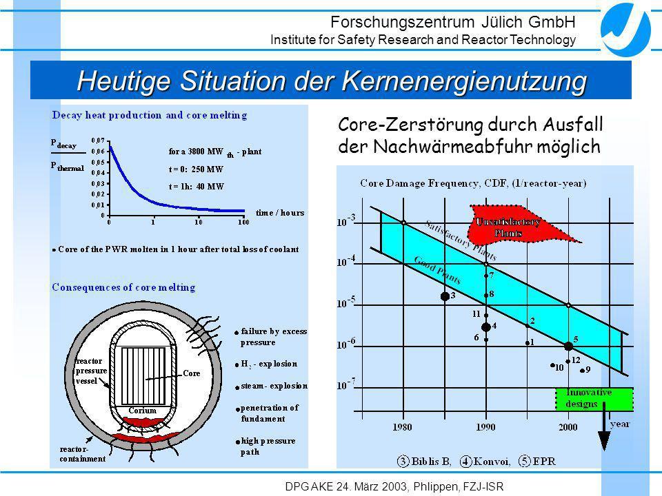 Heutige Situation der Kernenergienutzung