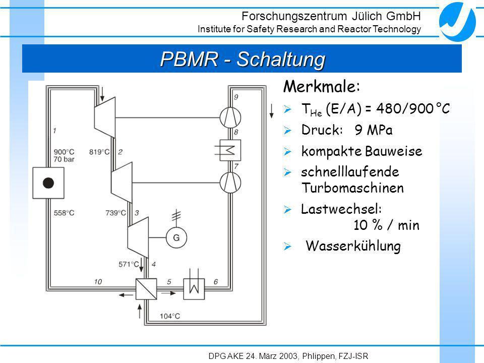 PBMR - Schaltung Merkmale: THe (E/A) = 480/900 °C Druck: 9 MPa