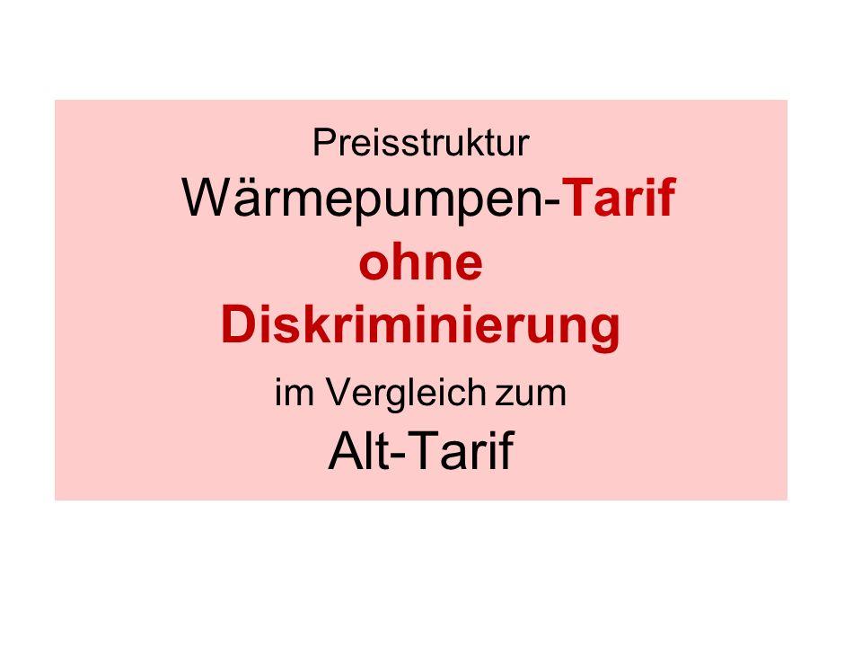 Preisstruktur Wärmepumpen-Tarif ohne Diskriminierung im Vergleich zum Alt-Tarif