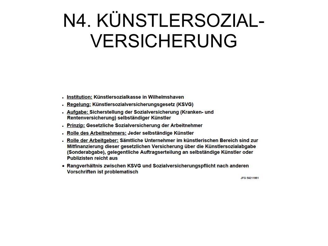 N4. KÜNSTLERSOZIAL-VERSICHERUNG