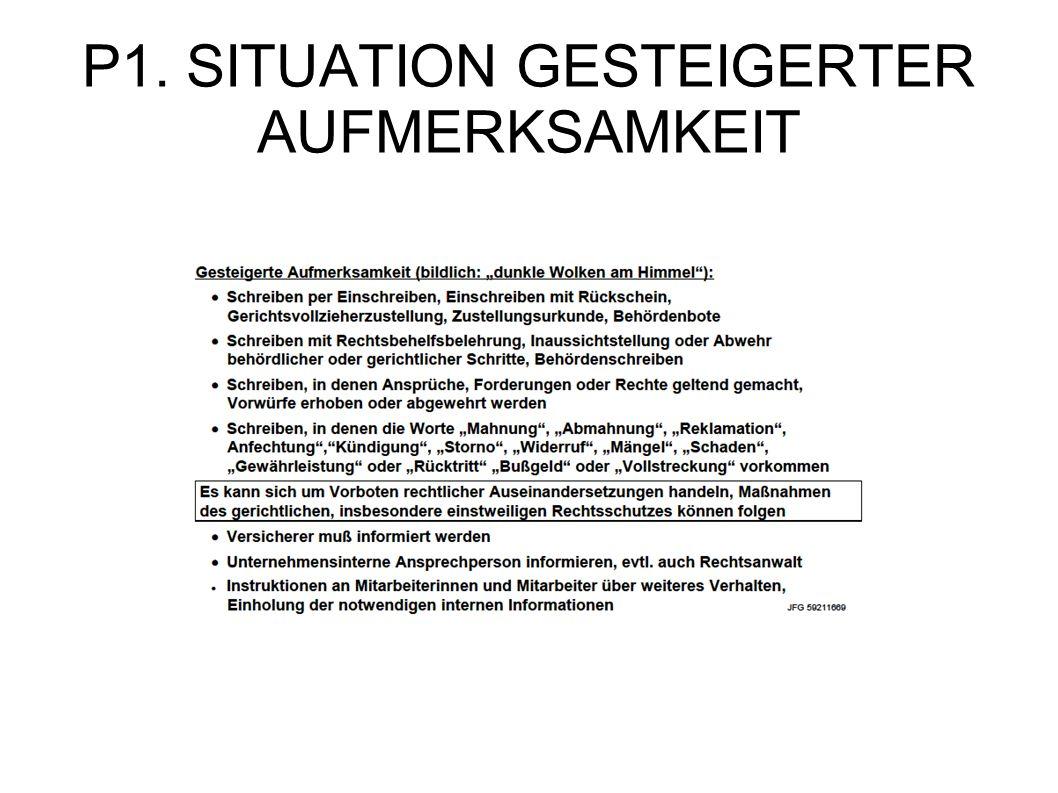 P1. SITUATION GESTEIGERTER AUFMERKSAMKEIT