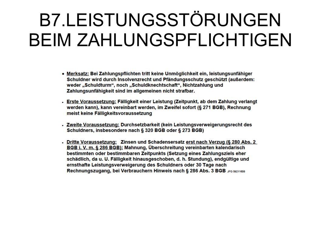 B7.LEISTUNGSSTÖRUNGEN BEIM ZAHLUNGSPFLICHTIGEN