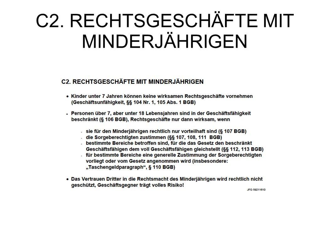 C2. RECHTSGESCHÄFTE MIT MINDERJÄHRIGEN