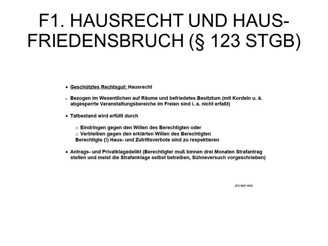 F1. HAUSRECHT UND HAUS-FRIEDENSBRUCH (§ 123 STGB)
