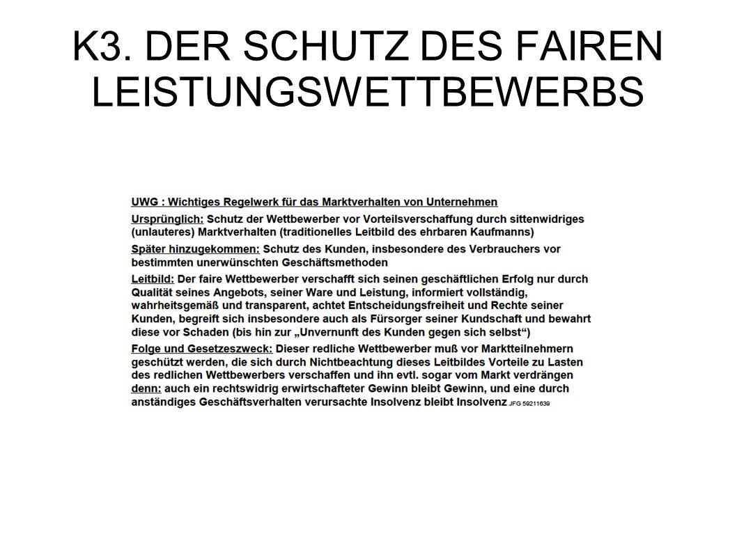 K3. DER SCHUTZ DES FAIREN LEISTUNGSWETTBEWERBS