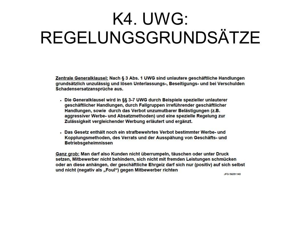 K4. UWG: REGELUNGSGRUNDSÄTZE