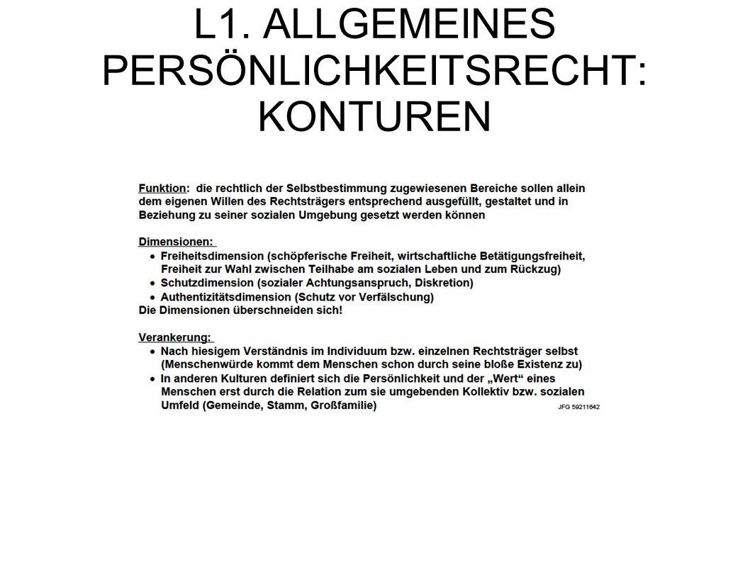 L1. ALLGEMEINES PERSÖNLICHKEITSRECHT: KONTUREN