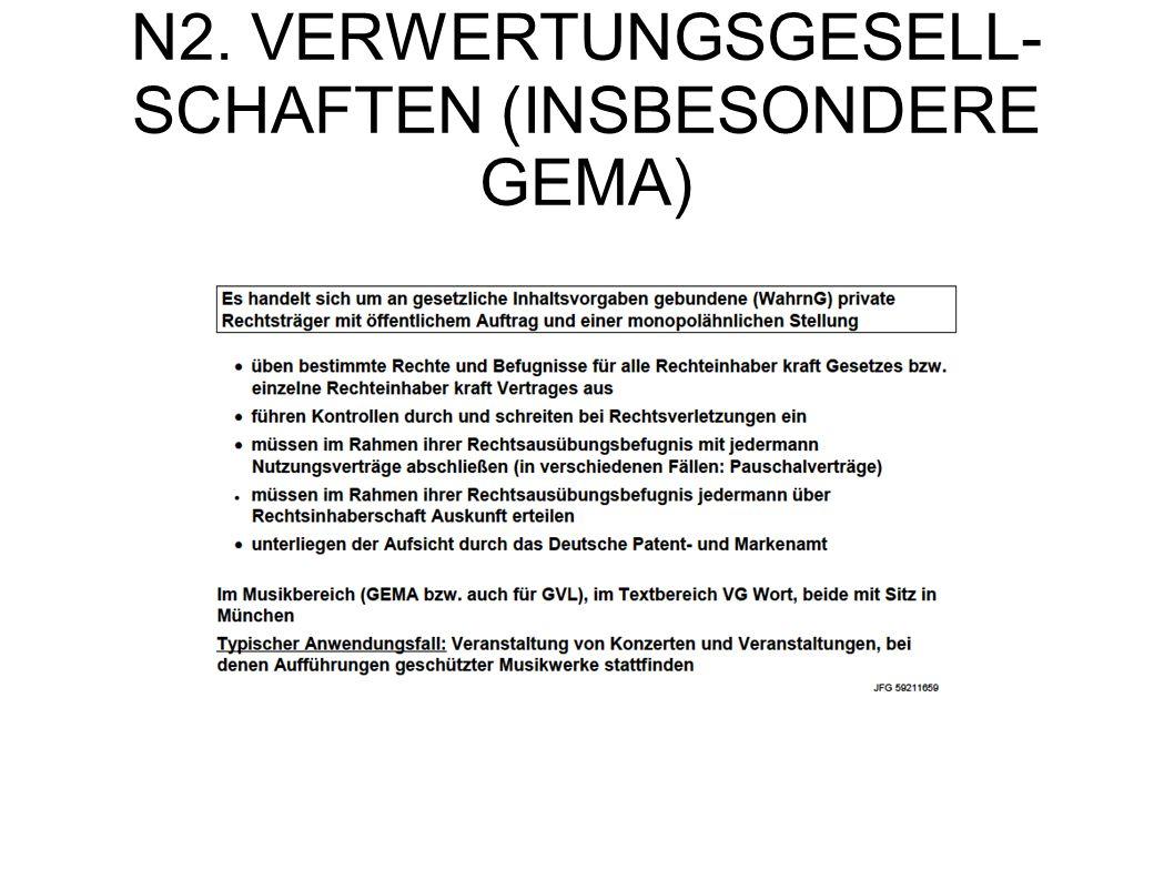 N2. VERWERTUNGSGESELL-SCHAFTEN (INSBESONDERE GEMA)