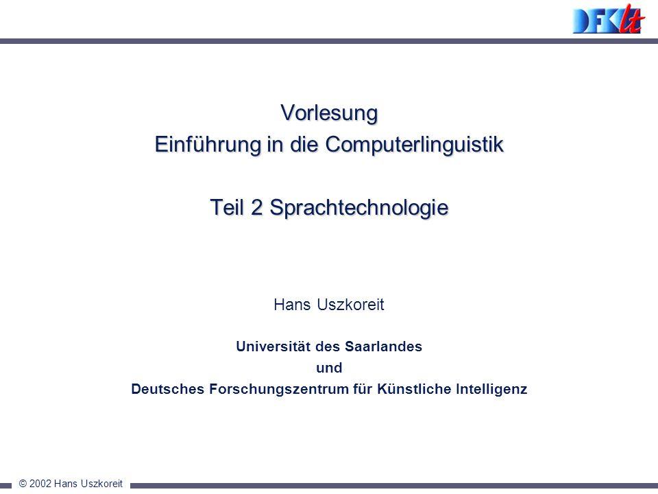 Vorlesung Einführung in die Computerlinguistik Teil 2 Sprachtechnologie