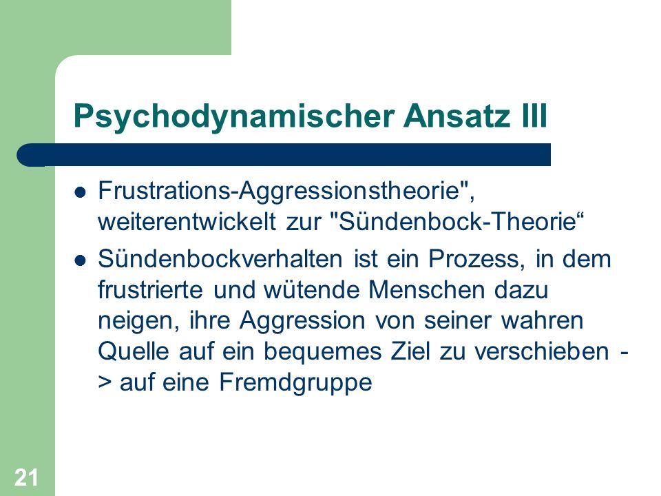 Psychodynamischer Ansatz III