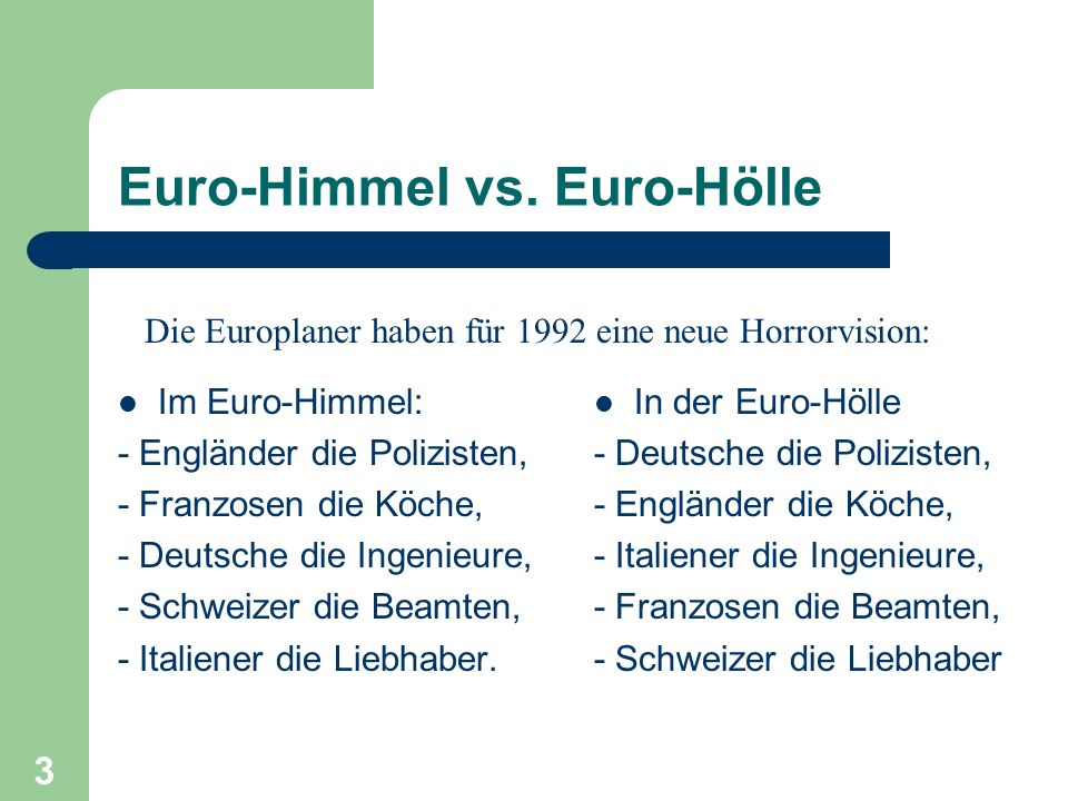Euro-Himmel vs. Euro-Hölle