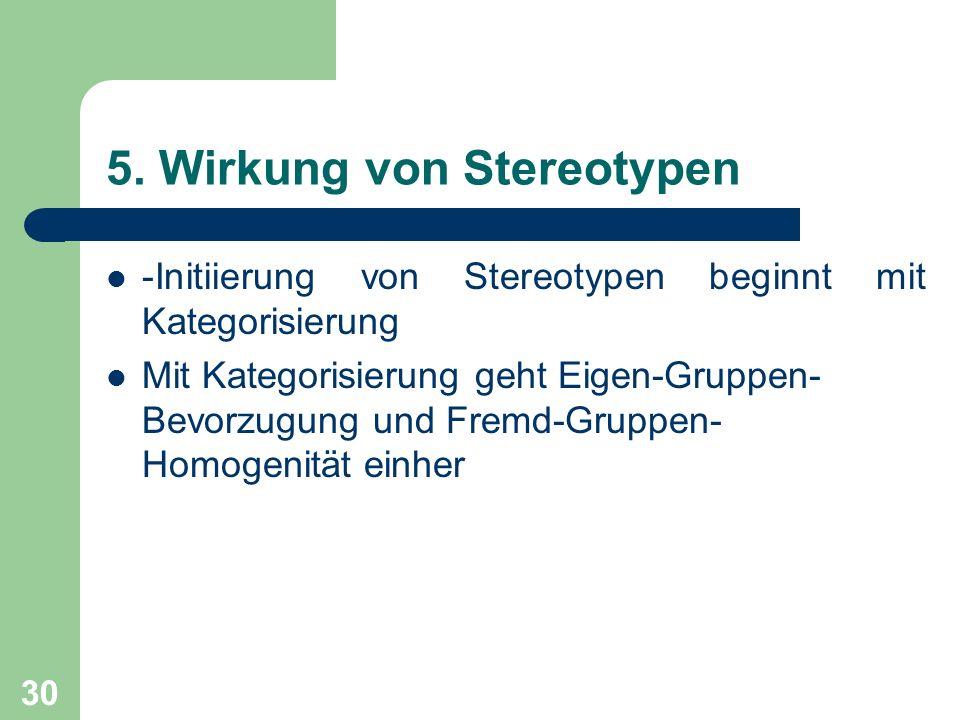 5. Wirkung von Stereotypen