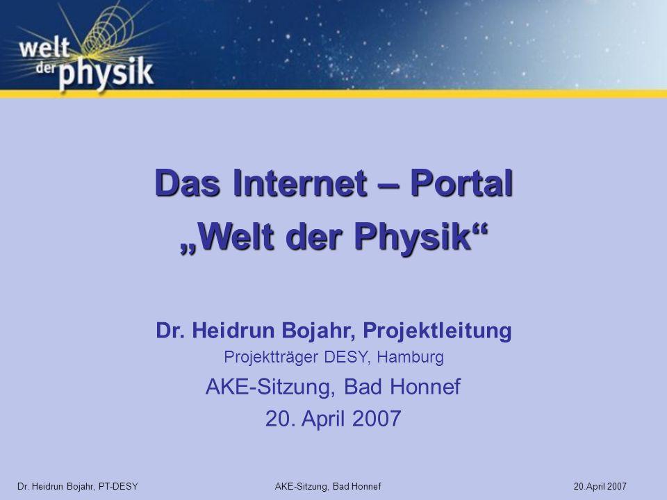 Dr. Heidrun Bojahr, Projektleitung