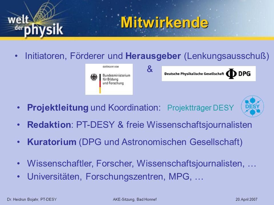 Mitwirkende Initiatoren, Förderer und Herausgeber (Lenkungsausschuß) &