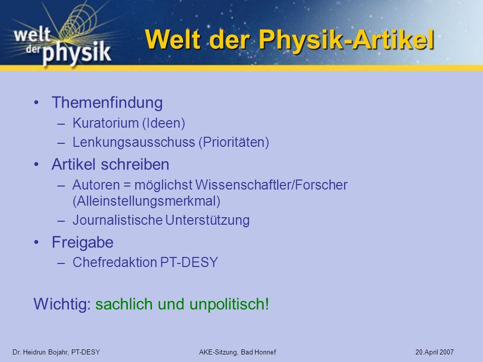 Welt der Physik-Artikel