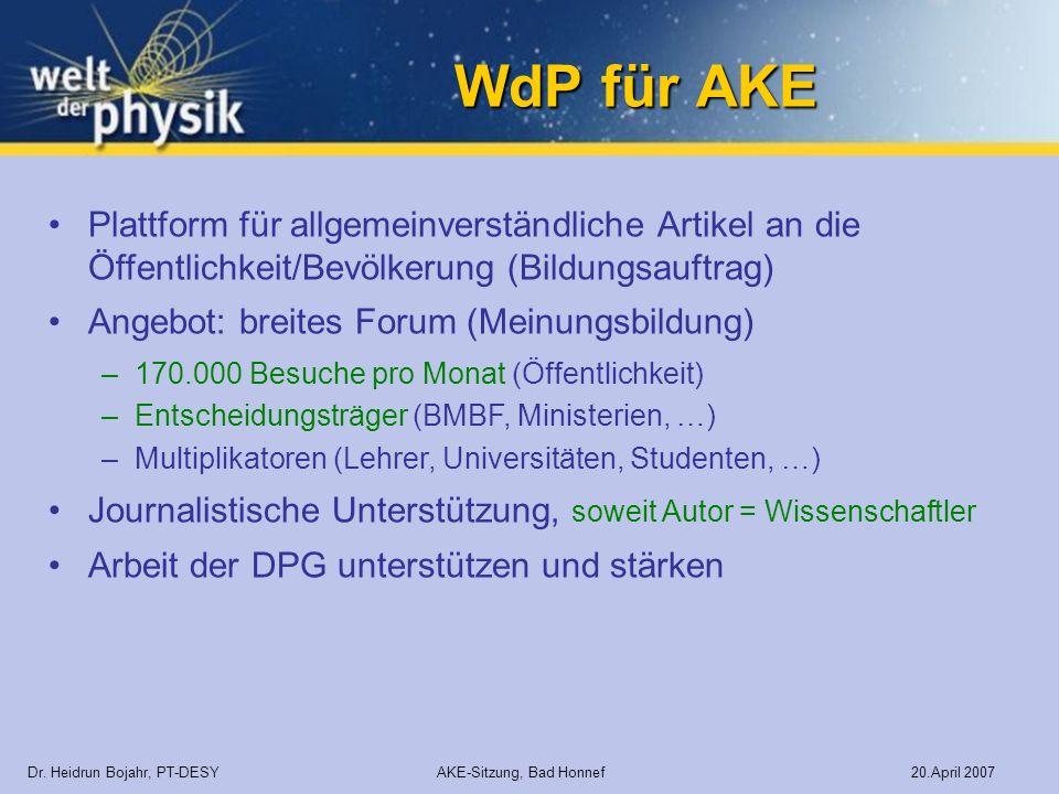 WdP für AKE Plattform für allgemeinverständliche Artikel an die Öffentlichkeit/Bevölkerung (Bildungsauftrag)