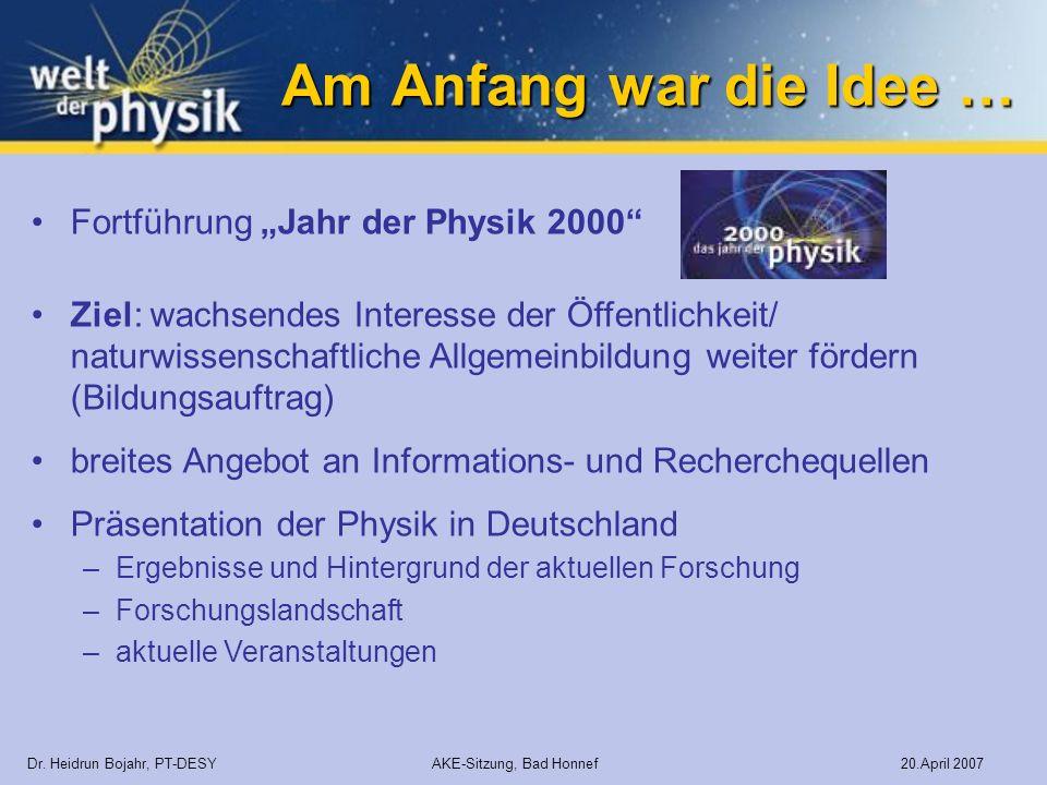 """Am Anfang war die Idee … Fortführung """"Jahr der Physik 2000"""