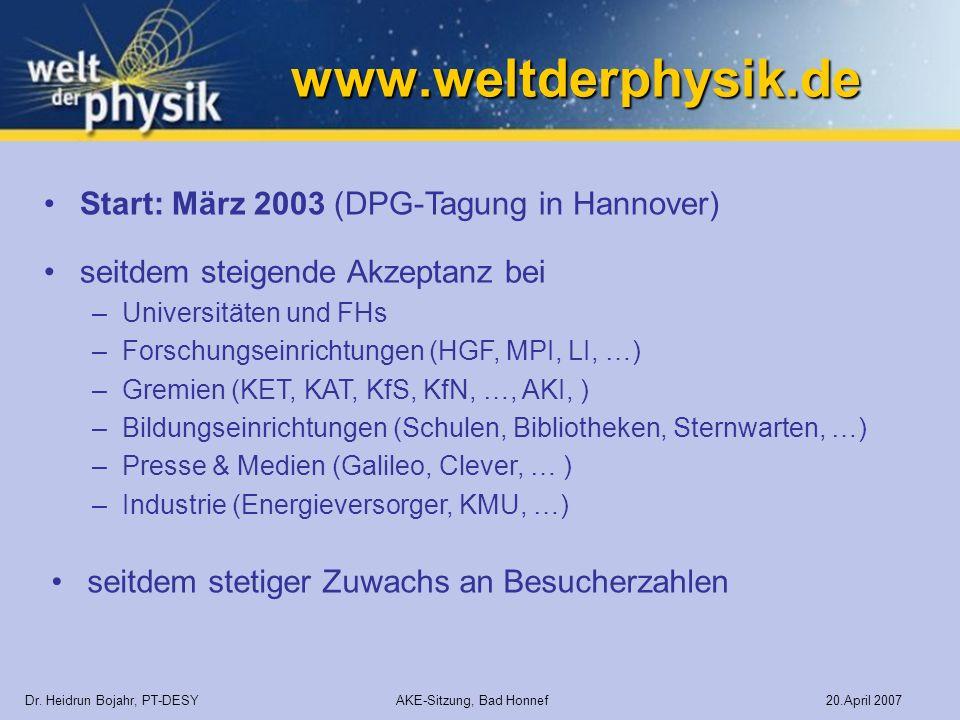 www.weltderphysik.de Start: März 2003 (DPG-Tagung in Hannover)