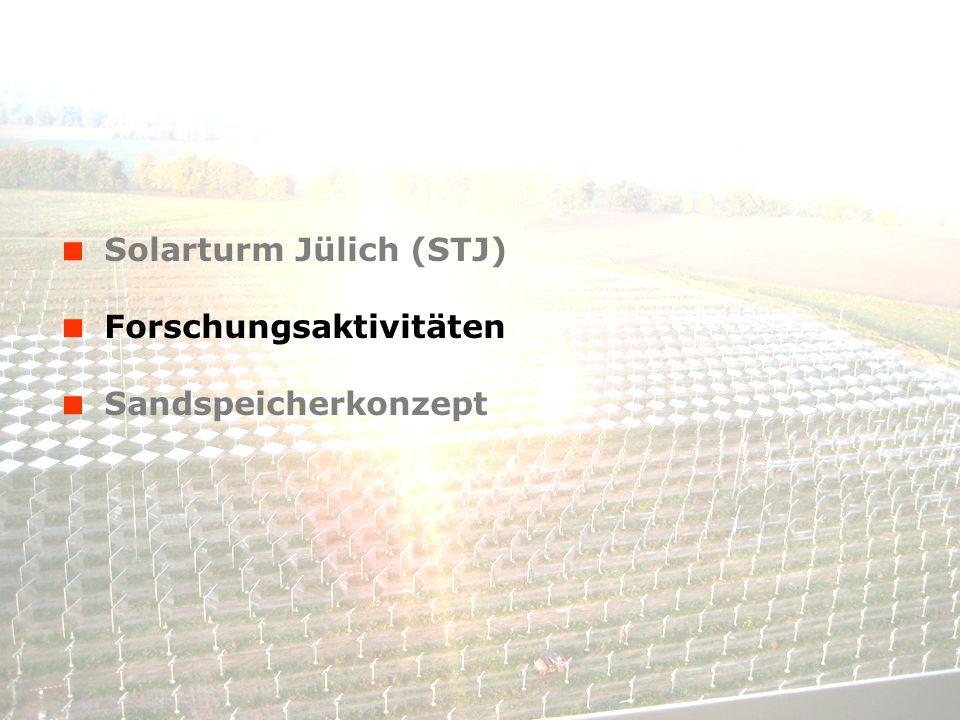 Solarturm Jülich (STJ) Forschungsaktivitäten Sandspeicherkonzept