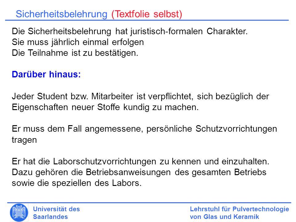 Sicherheitsbelehrung (Textfolie selbst)