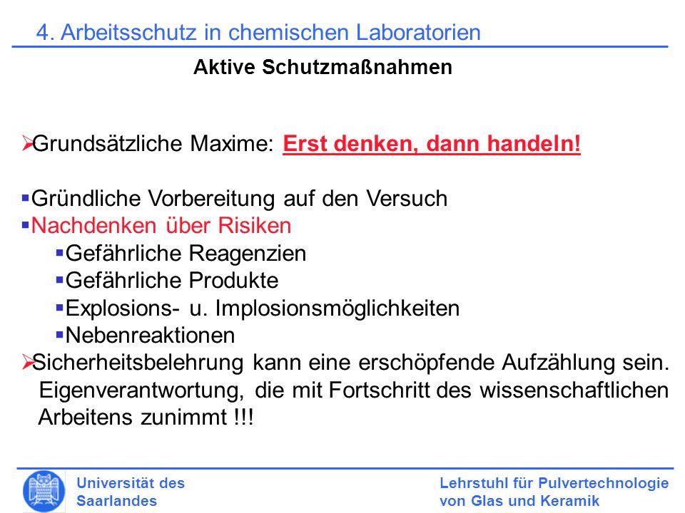 4. Arbeitsschutz in chemischen Laboratorien