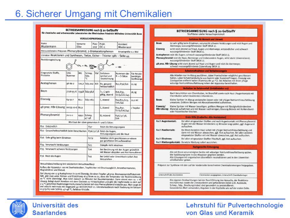 6. Sicherer Umgang mit Chemikalien
