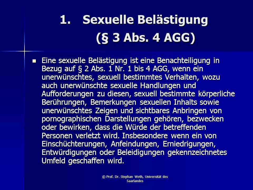 Sexuelle Belästigung (§ 3 Abs. 4 AGG)
