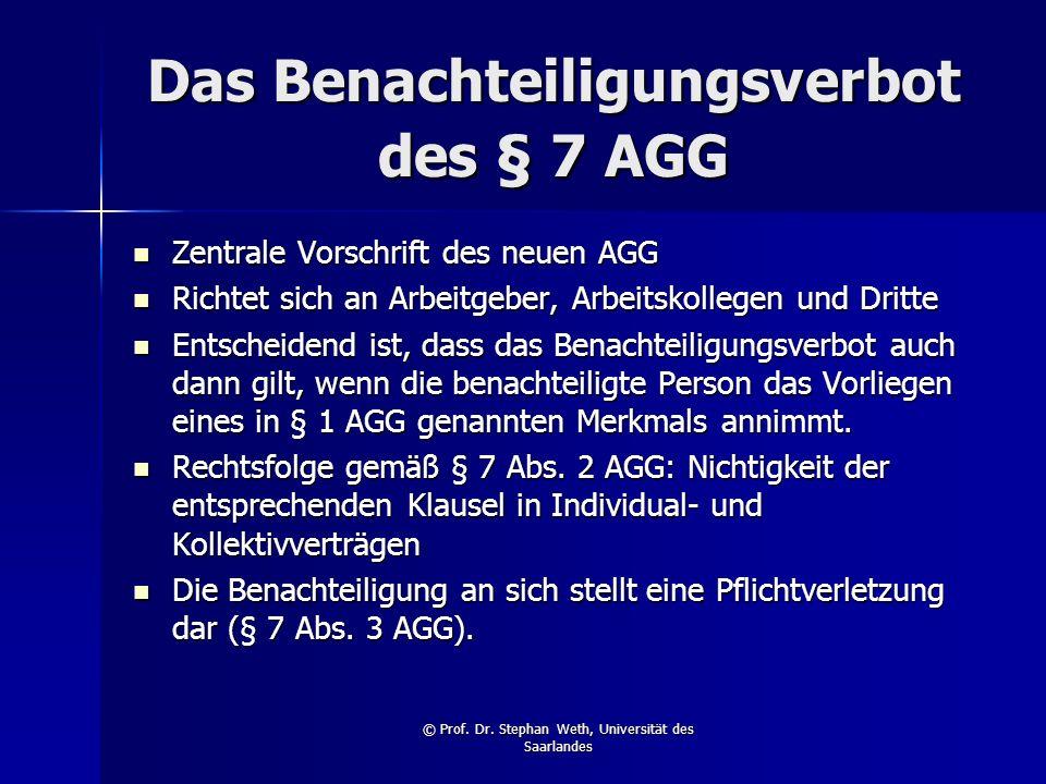 Das Benachteiligungsverbot des § 7 AGG