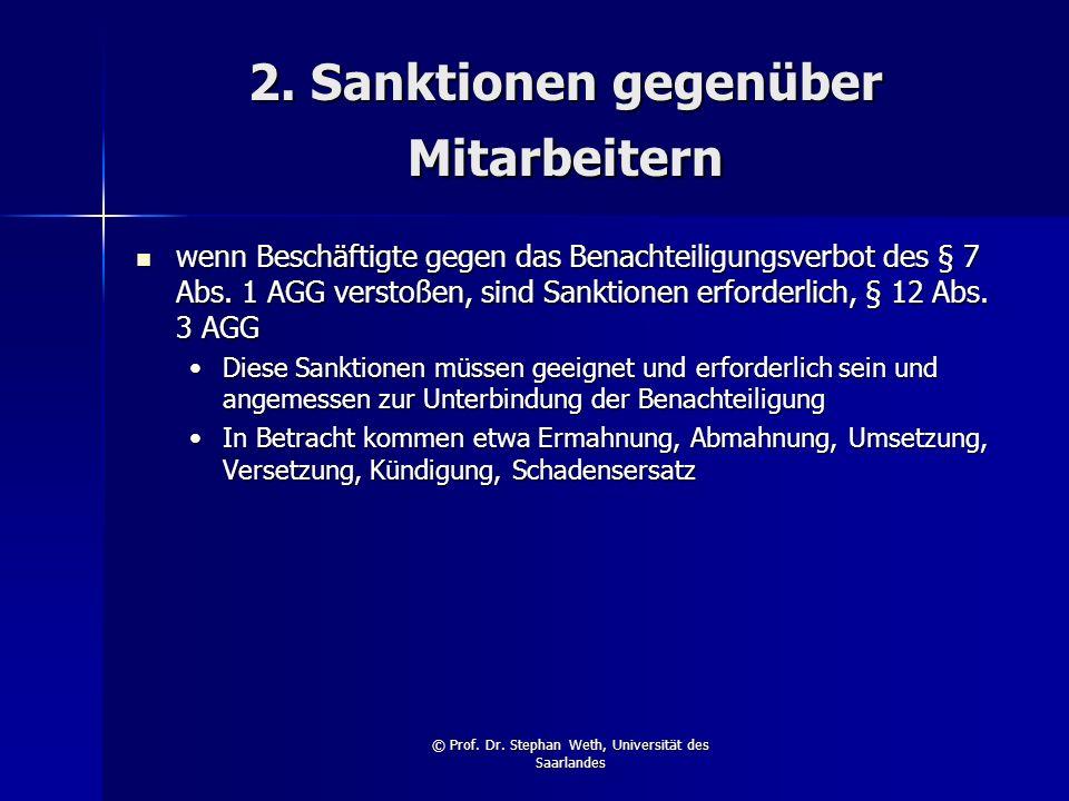 2. Sanktionen gegenüber Mitarbeitern
