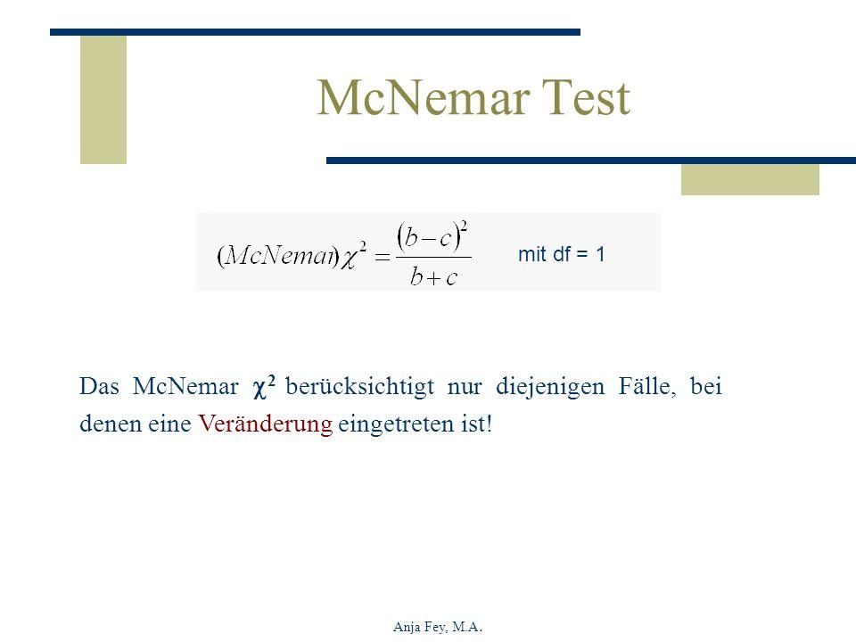 McNemar Test mit df = 1. Das McNemar 2 berücksichtigt nur diejenigen Fälle, bei denen eine Veränderung eingetreten ist!