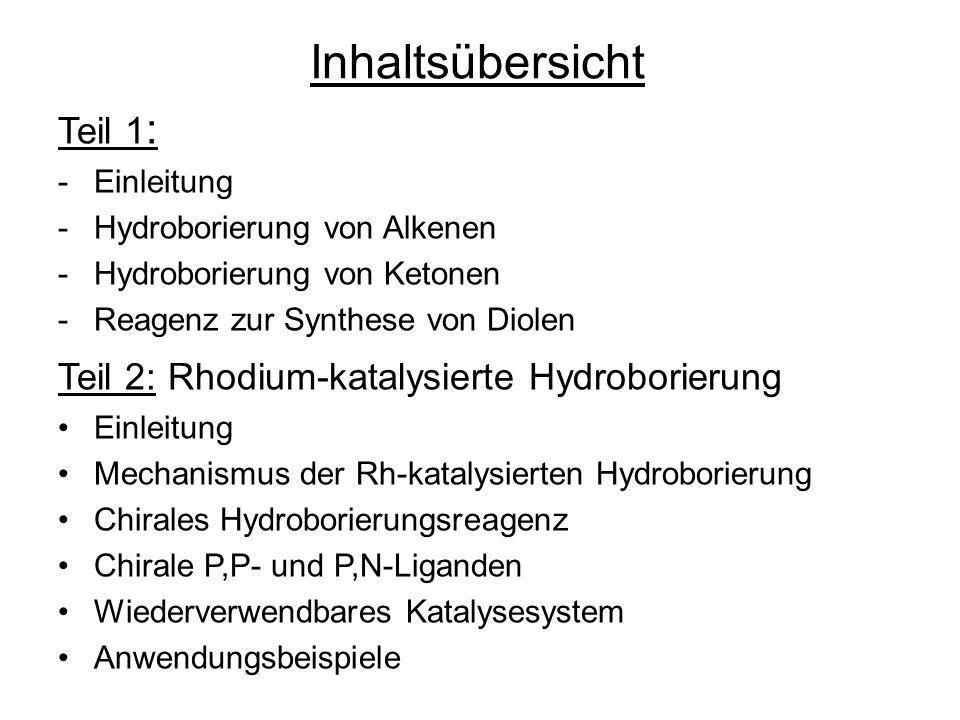 Inhaltsübersicht Teil 1: Teil 2: Rhodium-katalysierte Hydroborierung