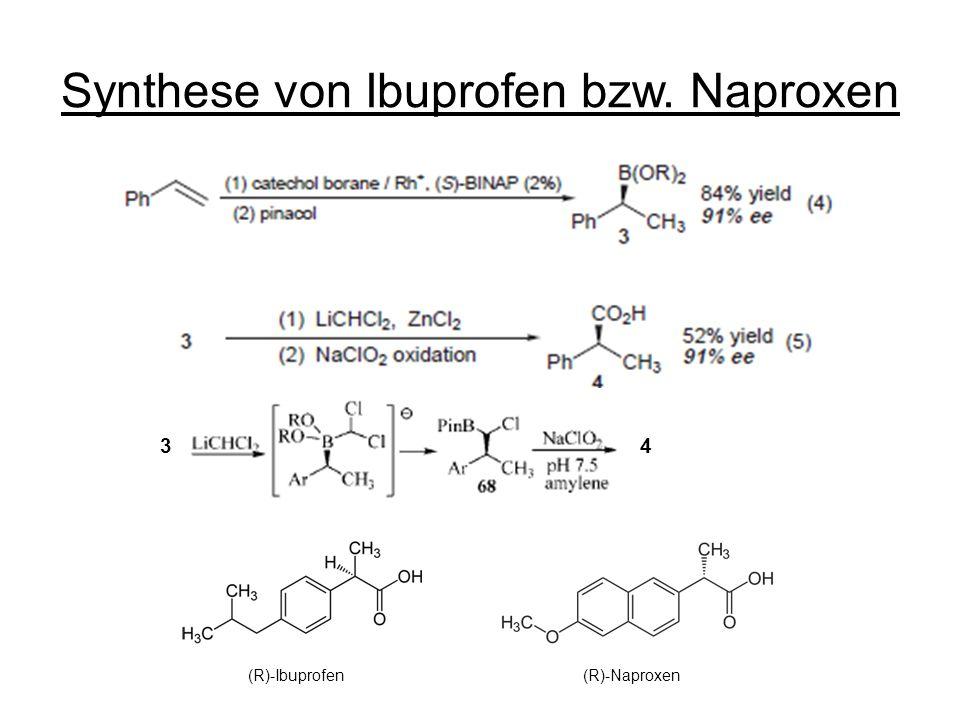 Synthese von Ibuprofen bzw. Naproxen