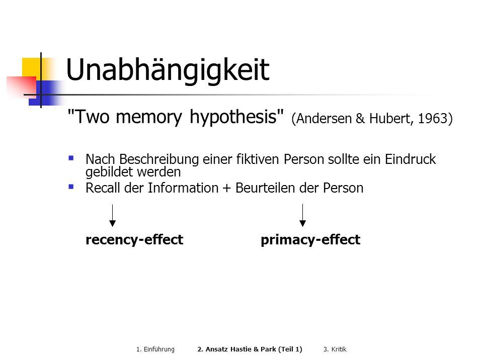 1. Einführung 2. Ansatz Hastie & Park (Teil 1) 3. Kritik