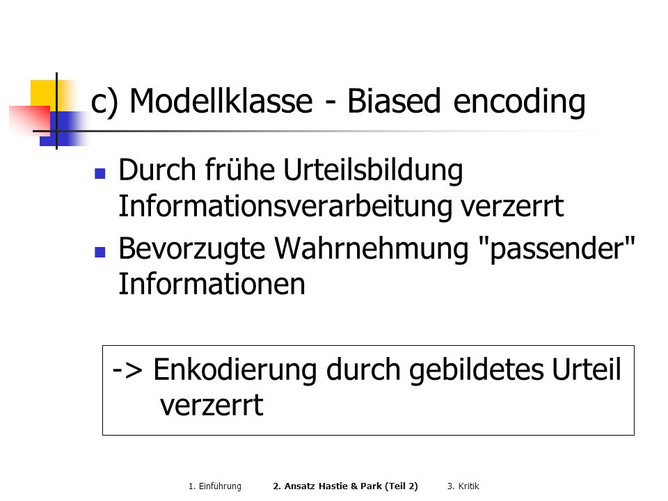 c) Modellklasse - Biased encoding