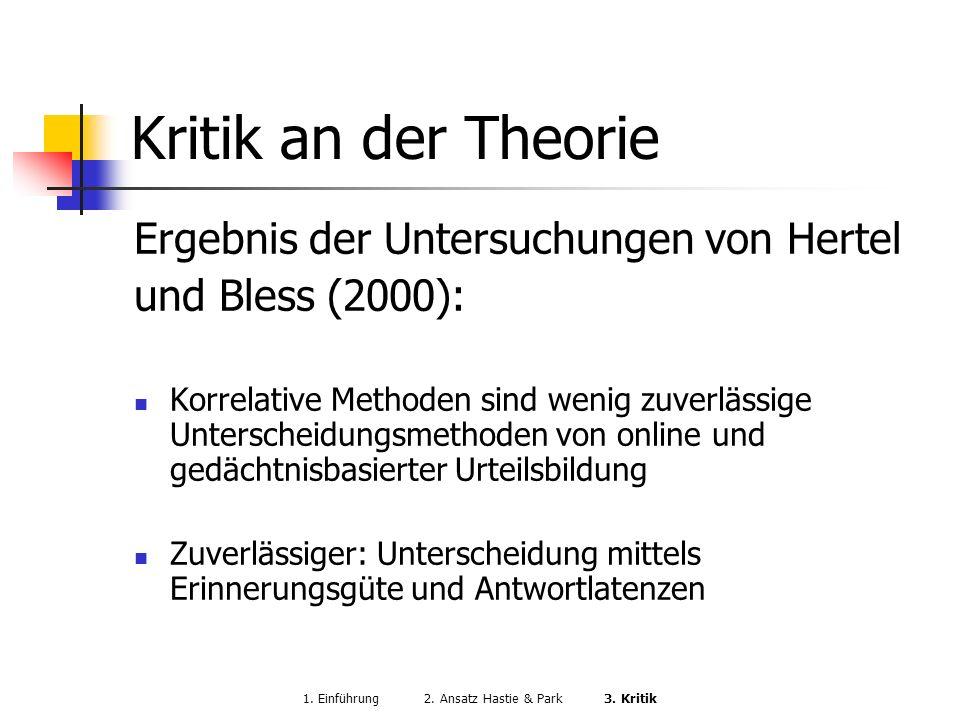 1. Einführung 2. Ansatz Hastie & Park 3. Kritik