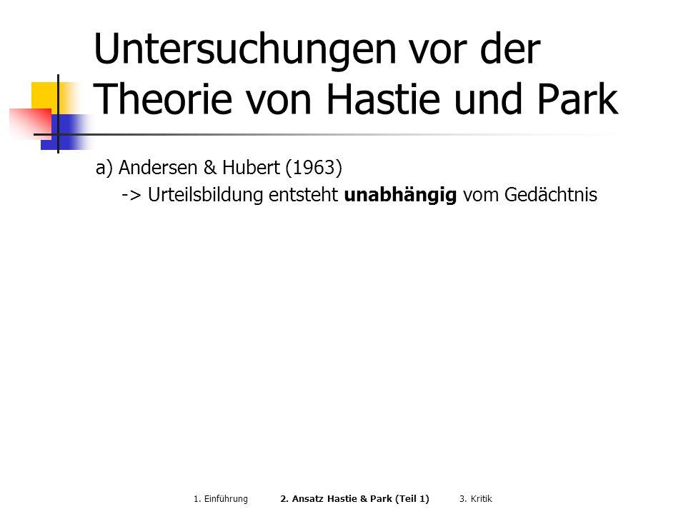 Untersuchungen vor der Theorie von Hastie und Park
