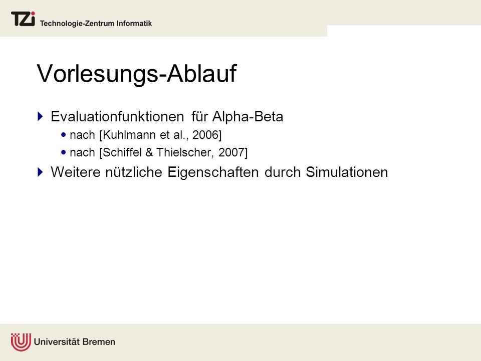 Vorlesungs-Ablauf Evaluationfunktionen für Alpha-Beta